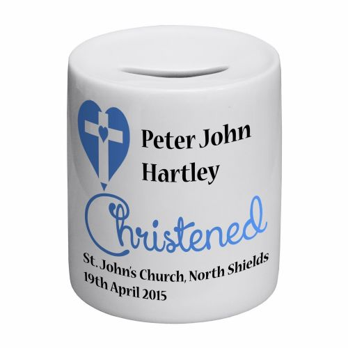 Personalised Christened Blue Novelty Ceramic Money Box
